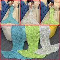 Wholesale Kids Crochet Waves Blankets Handmade Mermaid Waves Blanket Sofa Nap Blankets Children Mermaid Swaddle Mermaid Tail Sleeping Blanket