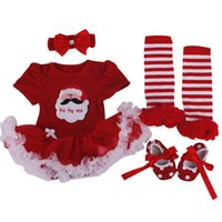 baby dress designs - 4 Piece Kids Clothing Set Cartoon Baby Girls Party Romper Tutu Dress Christams Headbands Leg Warmers Baby Shoes Infant Clothing Design