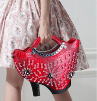 artwork shoes - 2016 New Handmade Novelty Fashion Bags for Woman Artwork Bags Shoes Shaped Fashion Shoulder Bags for Woman High Heel Bag with Diamonds