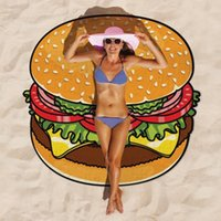 Wholesale 2016 CM Round Beach Towel Bohemian Chiffon Cartoon Printed Hamburger Doughnut Pizza Bath Towels Shawl Serviette Carpet Blanket