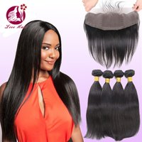 Cheap Malaysian human Straight Hair Extensions With Closure Ear To Ear Frontal Closure With Bundles Real Human Hair Weave With Silk Base Closure