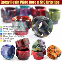 battle tanks - Newest Wide Bore Mouthpiece Epoxy Resin Drip Tip Cover Caps Battle Cap AV able Kennedy24 Roughneck TFV8 Tank RDTA e cig vapor Mods RDA Tips