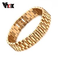 Wholesale Men s Bracelet k Gold Plated cm Chunky Chain Bracelets Bangles Stainless Steel Male Jewelry Gift