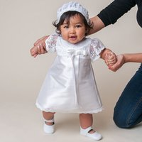 Wholesale 2016 Christening Dresses Custom Made Knee length White Lace Pattern Summer Style Baby Dress Baby Girl Christening Gowns Vestidos Infantis