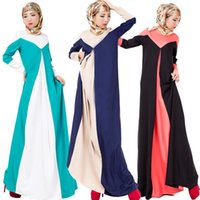 Wholesale New Arrival Muslim Contrast Color No Lining Length Arab Women Dresses Ethnic Clothing Middle East No Lining Linen DR1063