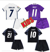 Wholesale new real madrid soccer jersey RONALDO JAMES BALE Shirts KIDS cheap Thai Quality soccer uniforms kit