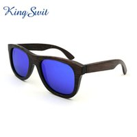 bamboo sun shades - Fashion Wooden Sunglasses For Men Reflective Sun Glasses Popular Bamboo Temple Glasses UV400 Protection Spectables Shades KW017