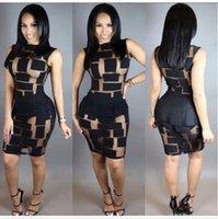 Wholesale 2016 Sexy Women sleeveless Bandage Bodycon Mesh Club Party Cocktail Mini Dress Brand New Good Quality