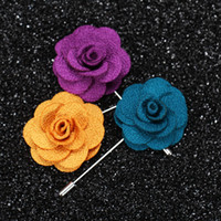 Wholesale Best selling Lapel Flower Man Woman Camellia Handmade Boutonniere Stick Brooch Pin Men s Accessories in Colors