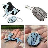 Wholesale HOT SALE Foldaway Keychain Pocket Multi Function Tools Set Mini Beetle Pliers Knife Screwdriver high quality Gift