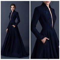 Wholesale Navy blue satin evening dress embroidery Paul Sebastian formal party dress custom beads in V neck ball gown PROM dresses