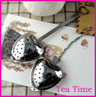 Tea Strainers tea infuser - 2016 hot sales quot Tea Time quot Heart Tea Infuser Heart Shaped Stainless Herbal Tea Infuser Spoon Filter Fast shipping