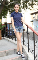 Wholesale new high quality women s cotton short sleeved polos shirt lapel casual fashion female female short sleeved shirt polos