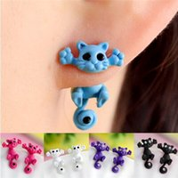 best puncture - New Fashion Women s Girl s Cat Puncture Ear Stud Piercing Earrings Crystal Alloy Cute Mixed Colos Jewelry Earring Women Best Gift