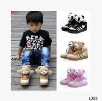 Wholesale retail The new child warm shoes Bear Plush Bear shoes for men Tactic panda girls winter tide L281