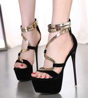 Women american sheet metal - 2016 new European and American high heeled sandals sexy Stiletto Heel waterproof metal sheet women dress shoes