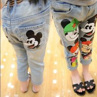 Wholesale 2016 Girls Korean Style Fashion Cartoon Pencil Denim Pants Best Sale Childrens Autumn Casual Pants Kids High Fashion Pretty Long Jeans Pants