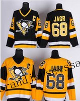 Wholesale Top Pittsburgh Penguins Jaromir Jagr Vintage Hockey basketball Jersey Yellow Black CCM Throwback Ice hockey jerseys Shirts Stitched