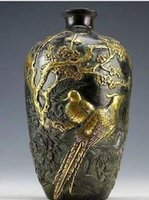 Wholesale Z Chinese Collection Bronze Statues Gold plating Flower Bird Vase pot cm
