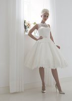 Wholesale 2016 Short Vintage Wedding Dresses House of Mooshki with Sheer Neck and Illusion Back Spot Tulle Ball Gown Bridal Gowns