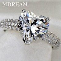 Wholesale 30 silver ring and Platinum filled with CZ Diamond for women wedding fashion heart style rings jewelry LSR048