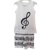 baseball pajamas - cotton fashion women pajamas women suit Casual vest shorts White printing music notes women s sports suits sleeveless
