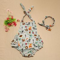 Cheap New Sweet Baby Kids Fox Print Cotton Rompers With Headbands Gray Color Cute Halter Bow Infant Kids clothing