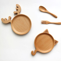 Wholesale Cartoon Deer Or Cat Shape Dishes Plates Children s tableware Beech Wood Christmas Plates MOQ Piece