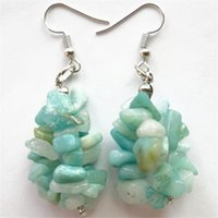 amazonite chips - A Pair Plated Silver Hook Semi Precious Genuine Amazonite Gem x15mm Chip Earrings