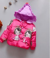 Wholesale The new fall and winter clothes girls warm year old female baby jacket plus velvet thick cotton padded
