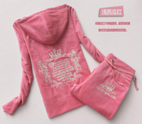 Cheap Plus Size S-XXXL Spring autumn Women Tracksuits Crowne Pattern Embroidery Velvet Sport Suit Women's Clothing moleton feminino Hoodies+pants