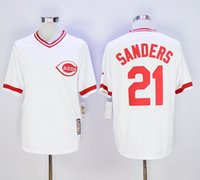 Wholesale Mens Cincinnati Reds Baseball Deion Sanders Throwback Stitched Jersey