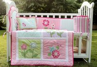 Wholesale Cot bedding set Item Crib bedding set Embroidery Pink flower butterfly Baby bedding set Quilt Bumper Cushion Pillow