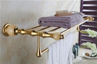Wholesale Double Towel Racks Towel Holder Solid Brass Marble Made Chrome Gold Rose Gold Finish Bathroom Accessories