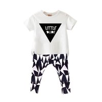 baby pants cool - NWT New INS hot cute Little Dude Baby Girls Boys Outfits Set Summer Sets Boy Cotton Tops Shirts Harem Pants piece sets Cool pajamas