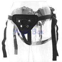 adjustable rubber straps - Black Lace Strap On Dildo Adjustable Penis Strapon Corset Style Harness Detachable Rubber Ring Lesbian Sex Toys Sex Products