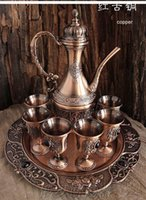 bar tray table - rare set antique copper wine set drinkware table ware wine jar cup tray home bar decoration A