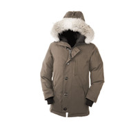 arctic winter coats - Canada Down Goose Mens Chateau Parka Winter Thick Warm Long Coat Outdoor Windproof Coyote Fur Ruff Fur Collar Hooded Arctic Expedition Parka