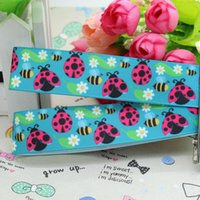 bee hair bow - 7 quot mm Popular Cute Bees Ladybugs Printed Grosgrain Ribbon Bows Crafts Decorations DIY Hair Accessories Y A2