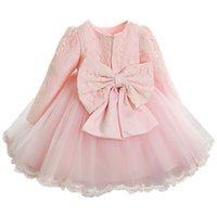baby clothes christmas gift - Baby Girls Dress Fashion Lace Ball Gown Dresses For Gilrs Children Baby Party Bow Tulle Dress Kids Clothes Christmas Gifts