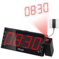 battery backup alarm clock - 1 Inch LED Dimmable Projection Dual Alarm Clock FM Radio with USB Charging Battery Backup Sleep Timer Snooze
