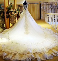 best maternity wedding dresses - 2016 best selling real photos gorgeous dubai pakistani wedding dresses crystal beading A line floor length cathedral train wedding gowns