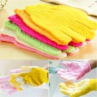 Wholesale One Shower Exfoliating Wash Skin Spa Foam Bath Gloves Massage Loofah Scrubber Color Random