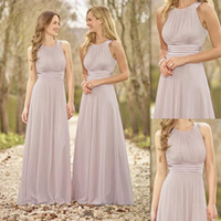 beach groups - Plus Size Beach Chiffon Bridesmaid Dresses Formal Fresh Pink Grey Bridesmaids Dress Group Summer Beach Wedding Party Maid Of Honor Gown