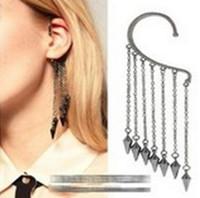 Wholesale Woman Jewelry Punk rivet bullet pierced earrings long tassel ear hook without ear hook bullet rivets earhook Christmas gift