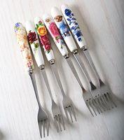 Wholesale Korea creative bone china tableware handle stainless steel fruit fork sign Western style food fruit dessert fork fork