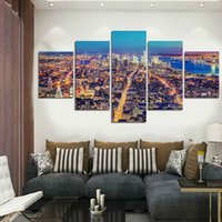 More Panel beautiful landscaping photos - 5 Panels Artwork Canvas Painting Wall Art Canvas Paintings For Living Room Wall Cuadros Beautiful city views Canvas Prints Photo