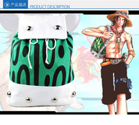 Wholesale NEW Anime cartoon ONE PIECE AXSE Portgas D Ace canvas green white color cosplay bag Backpack