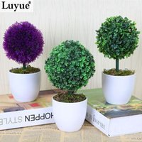 artifical christmas trees - Luyue Plastic tree Artifical flower Green Plant Plastic tree With Vase Office and table decoration Home Decor