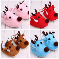 baby deer shoes - 2017 Christmas Shoes Baby Boys and Girls Fleece First walker shoes Babies Autumn Winter Warm Soft Shoes bebe Deer Cartoon Shoes